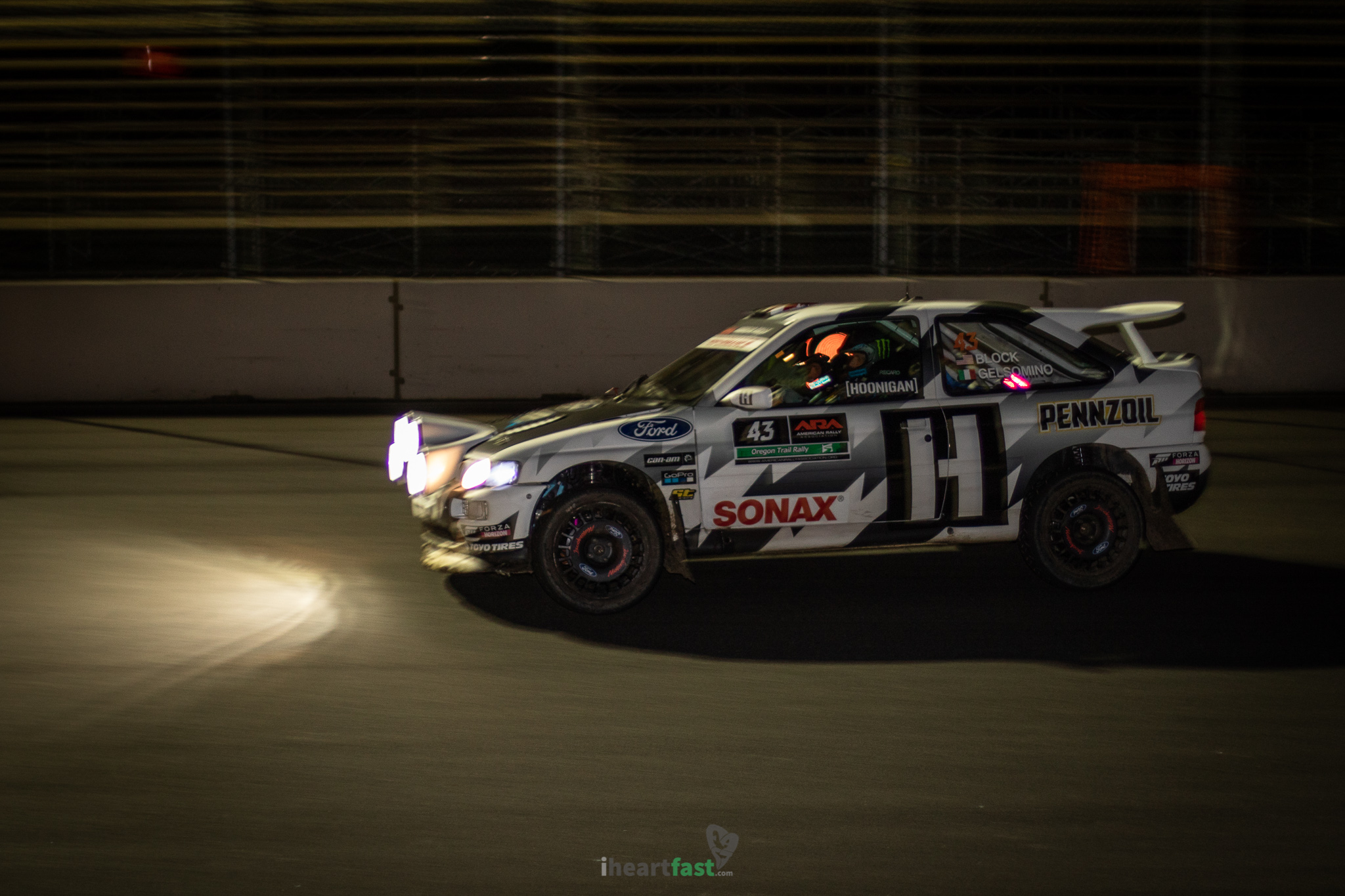 Ken Block taking the Escort Cosworth around Portland International Raceway as dark sets in