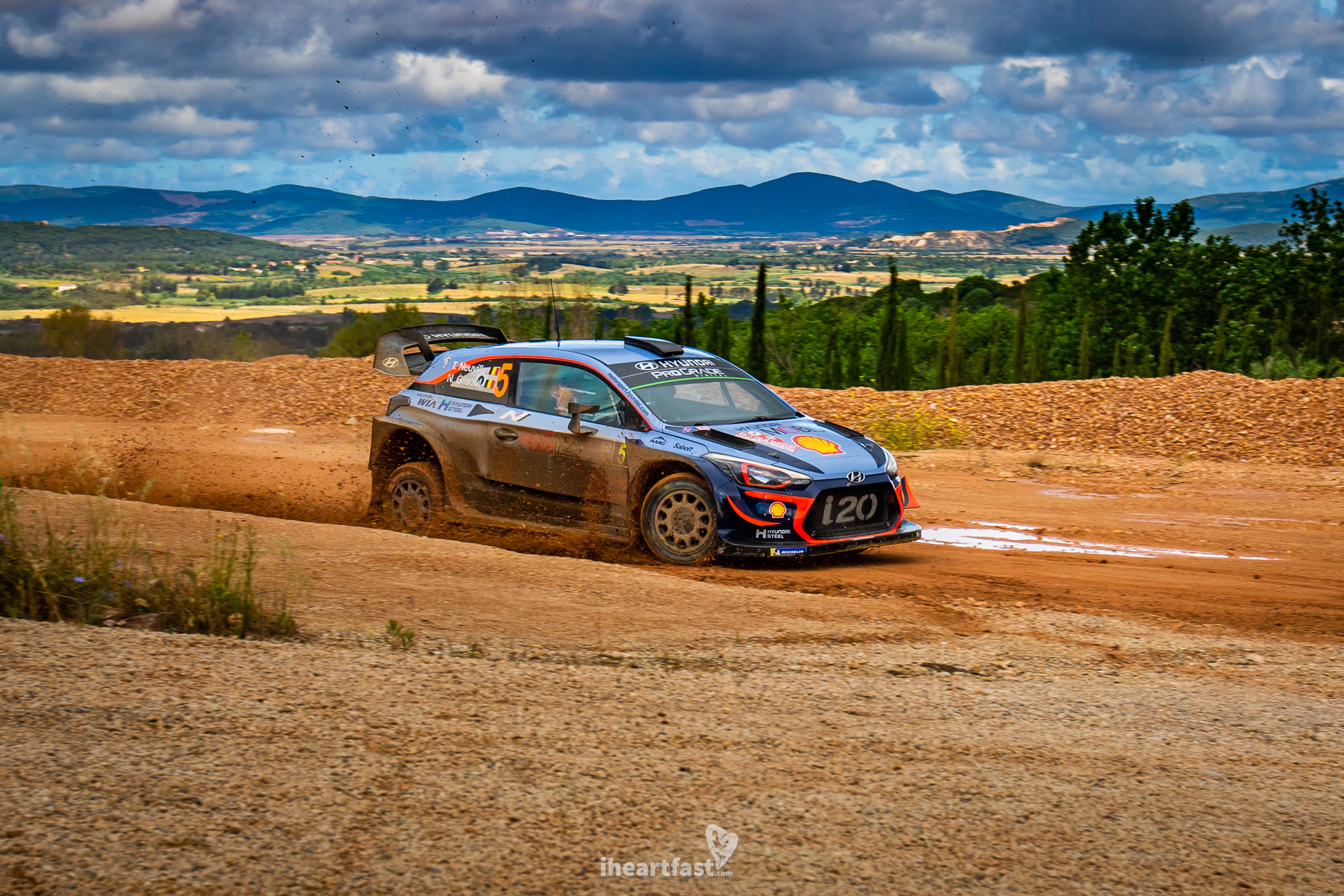 Thierry Neuville charging his Hyundai I20 to victory at WRC Rally Italia Sardegna