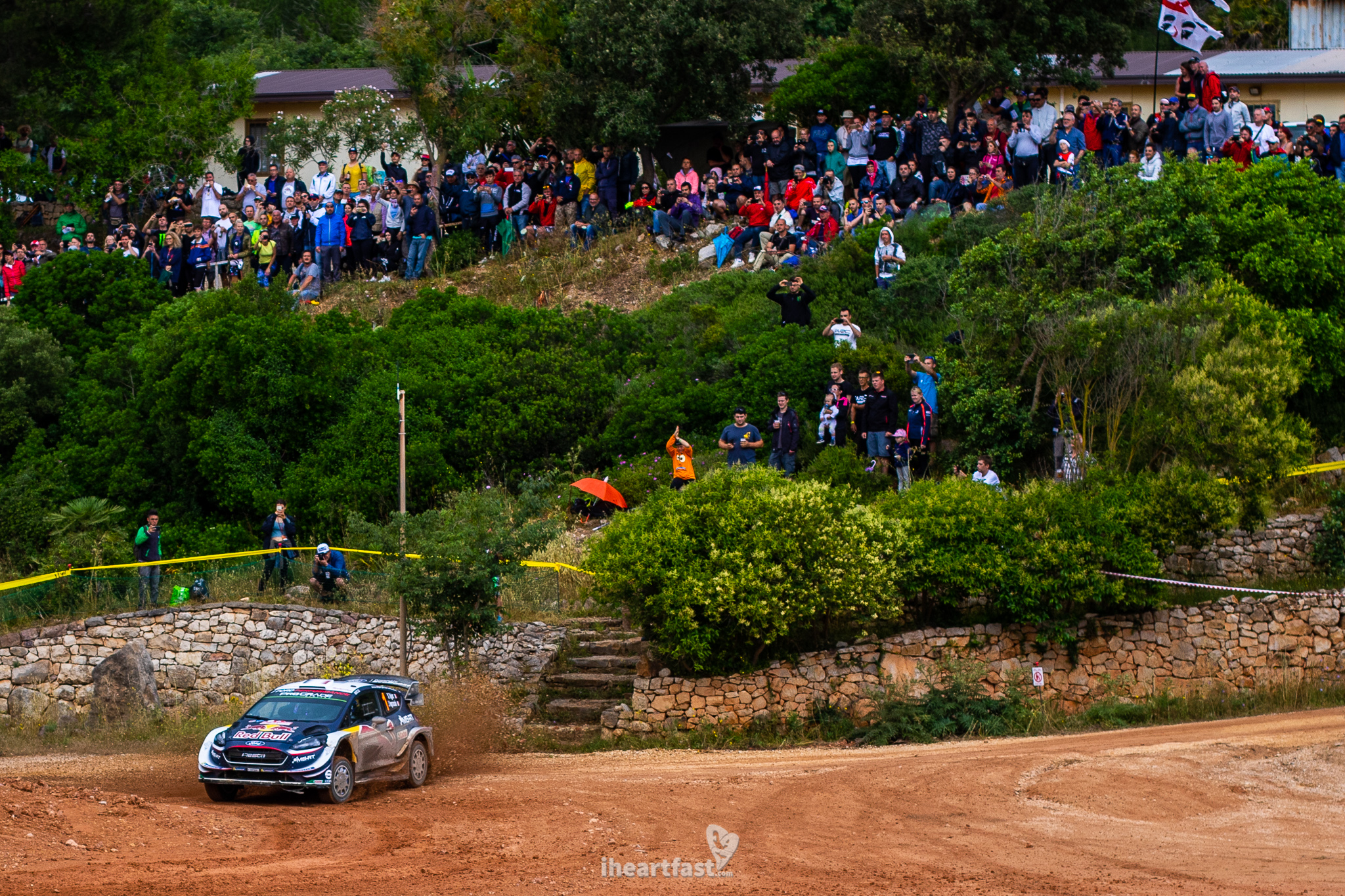Fans cheer on Sebastien Ogier