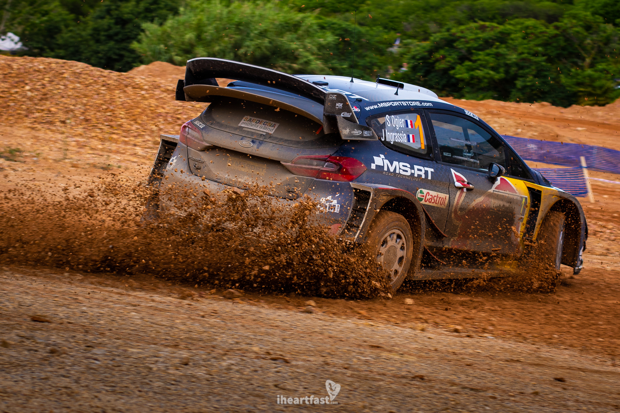 Sebastien Ogier kicking up a bunch of mud