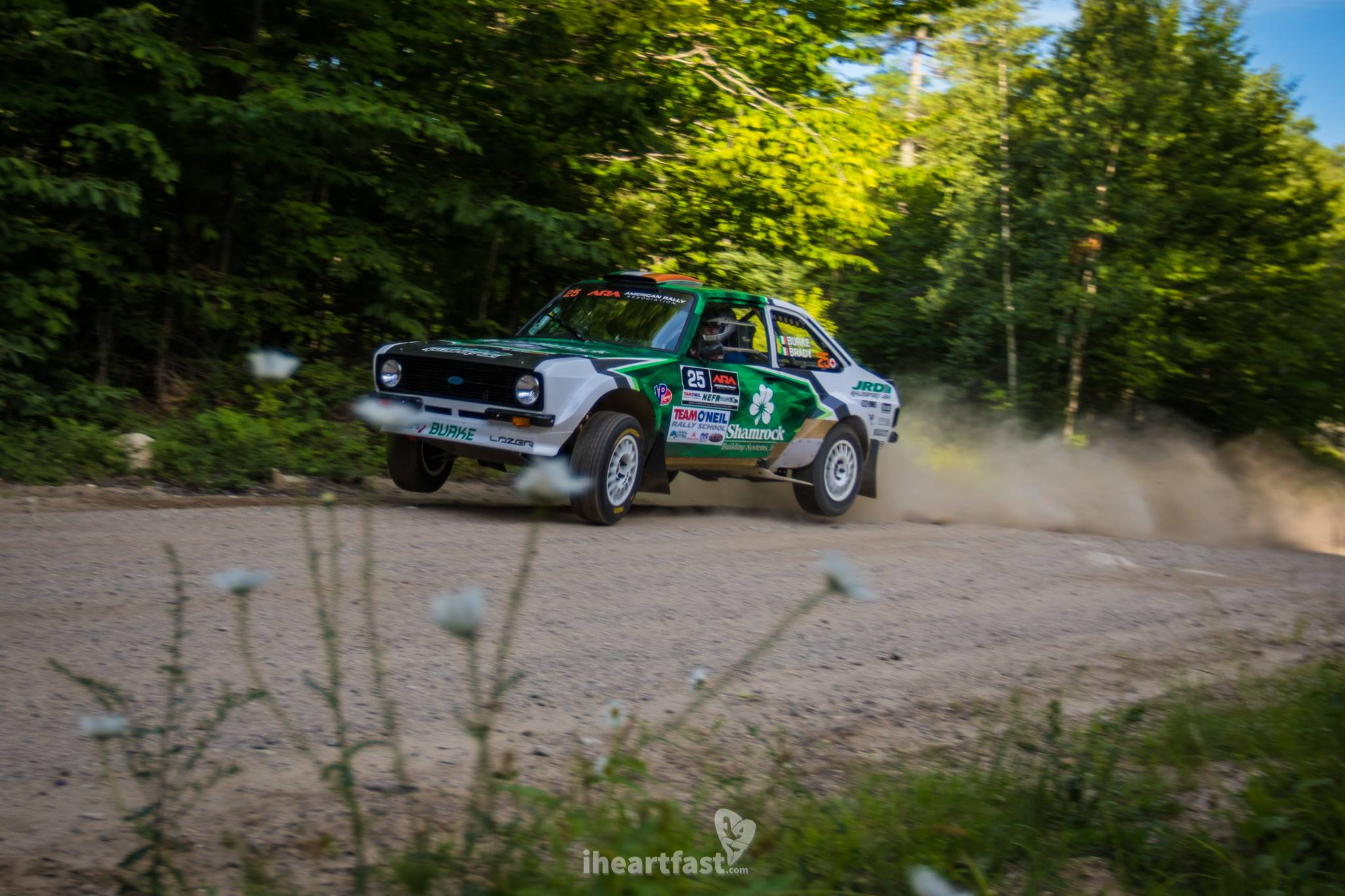 Seamus Burke and Martin Brady take their V6 Mustang powered MK2 Escort over a kick at NEFR