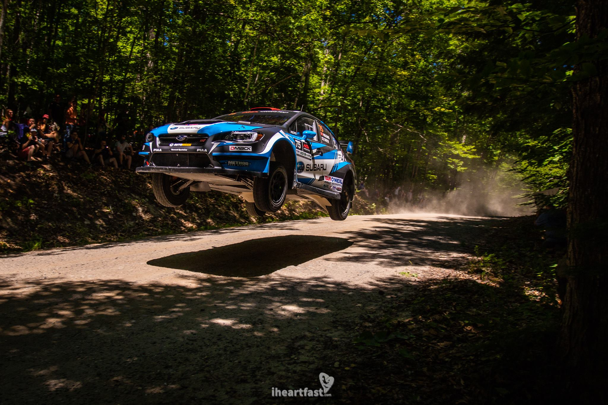 David Higgins and Craig Drew of Subaru Rally Team fly to victory at New England Forest Rally.