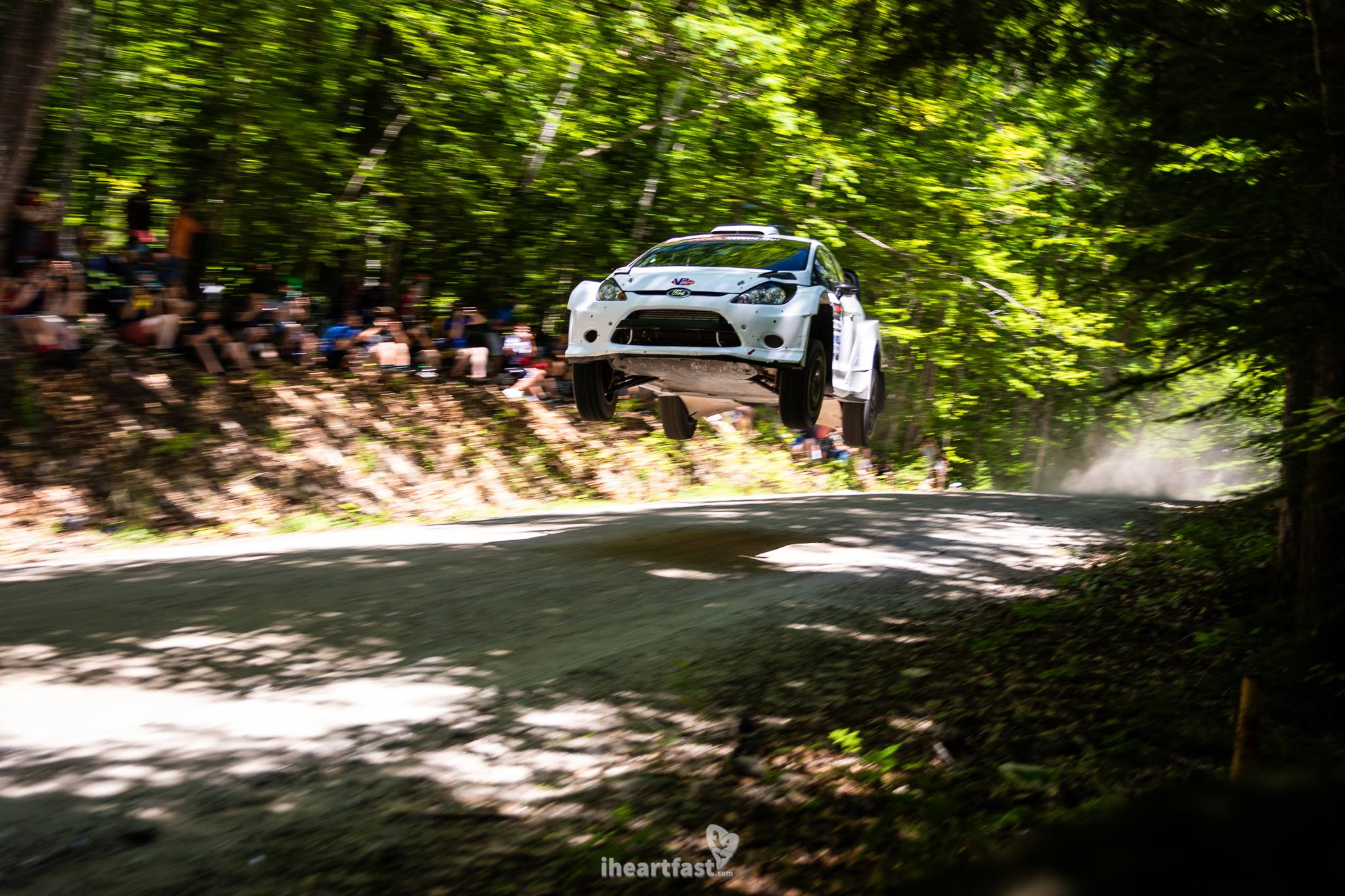 Barry McKenna and Leon Jordan flying high in their Fiesta R5 at NEFR