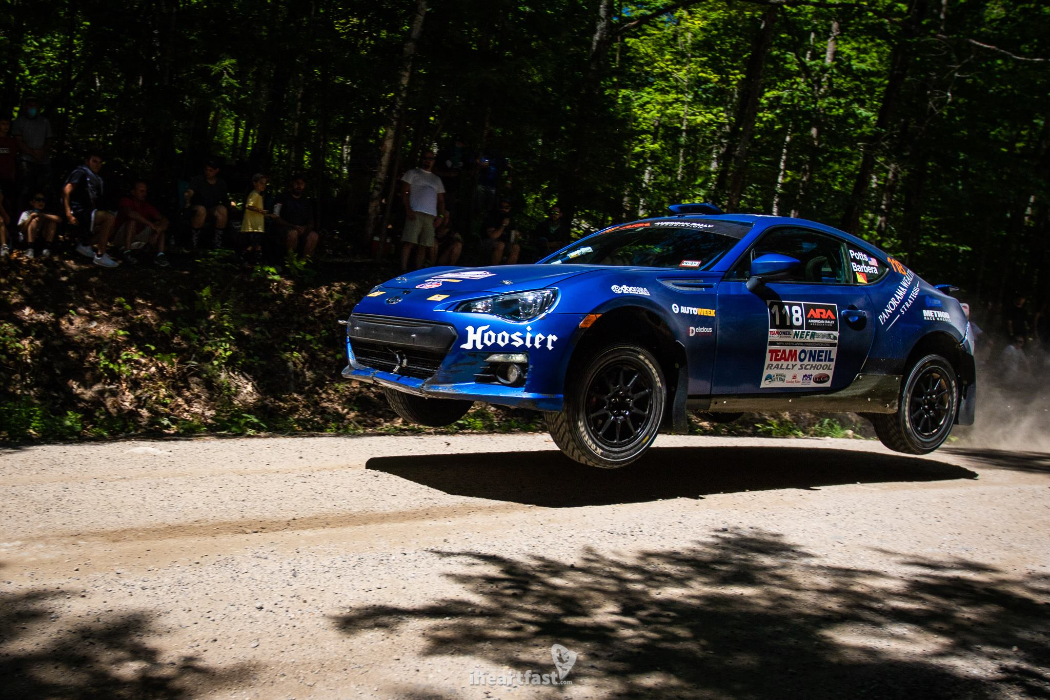 Erik Potts and Claudia Barbera flying in their Subaru BRZ