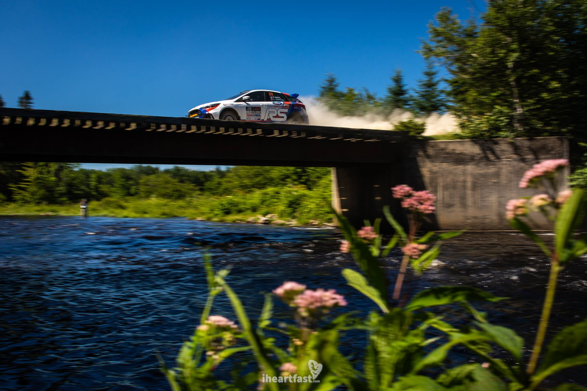 Wild Flowers and Rally Cars as Tim O'Neill and Leanne Junnilla pilot a Ford Focus RS across a narrow bridge at NEFR