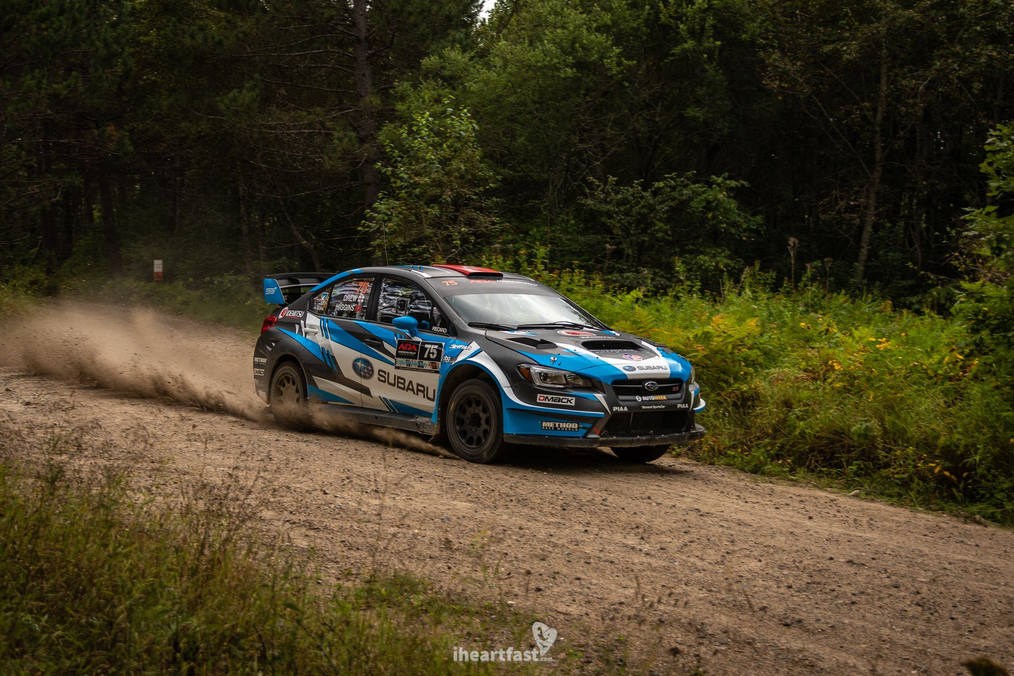 David Higgins & Craig Drew of Subaru Rally Team USA on their way to victory at Ojibwe Forests Rally