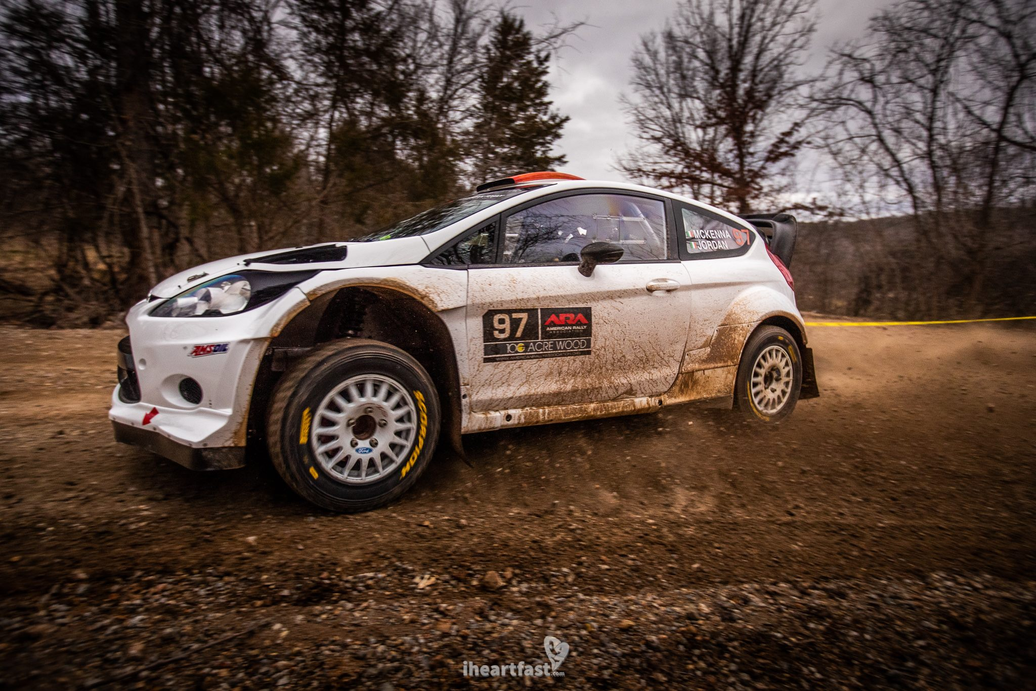 Barry McKenna and Leon Jordan driving to victory at American Rally Association 100 Acre Wood