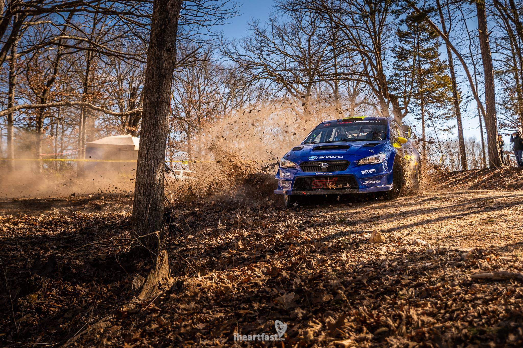 Oliver Solberg getting sideways at his first event with Subaru Motorsports.