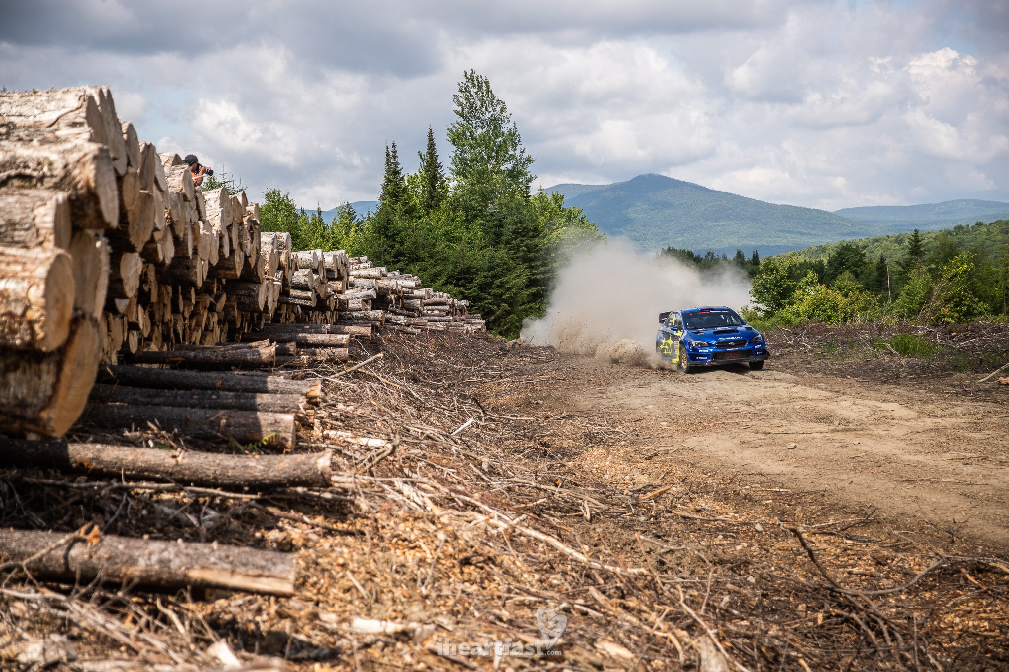 Higgins and Drew of Subaru Motorsports USA on their way to victory at New England Forest Rally