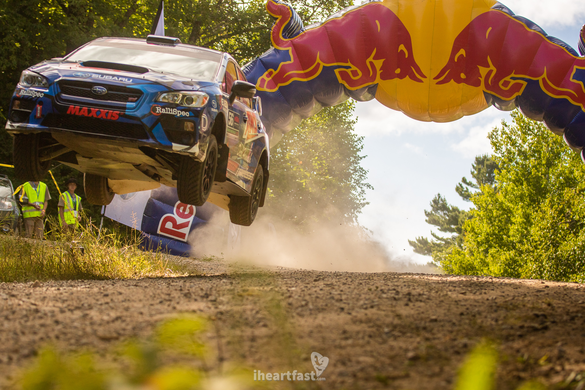 Jeff Seehorn flying over the Red Bull Crossroads jump at American Rally Association Ojibwe Forests Rally.