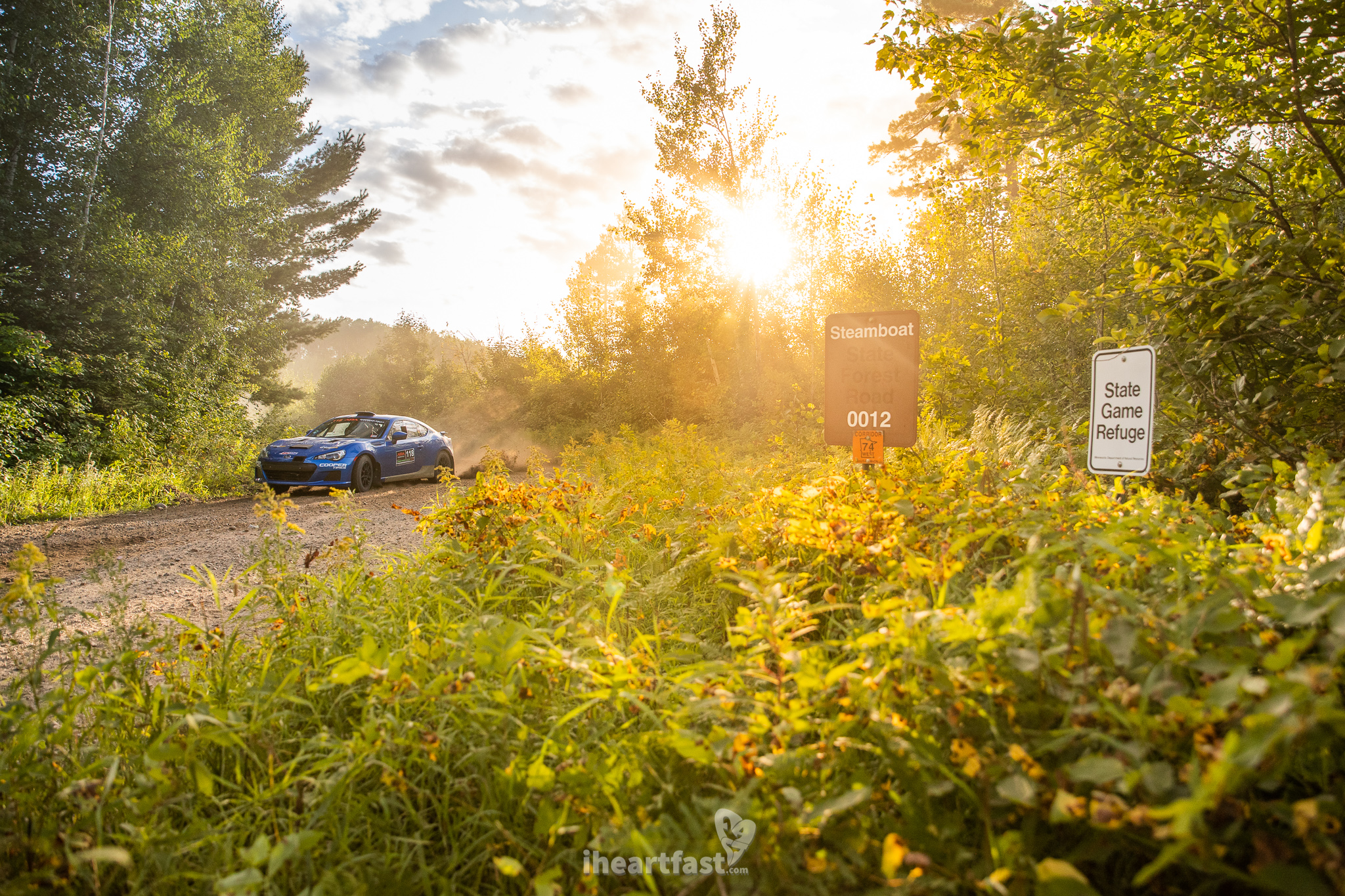 Sun sets on the first full day of rally action at Ojibwe Forests Rally